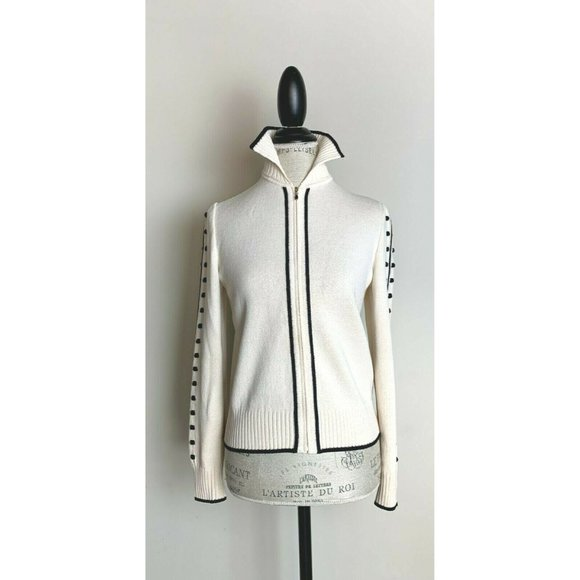 St John Ivory Black Santana Full Zip Jacket 2